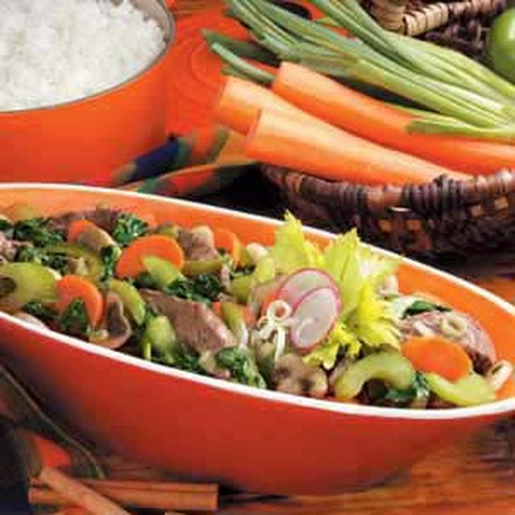 ... five-spice powder, water, canola oil, carrots, green pepper, celery