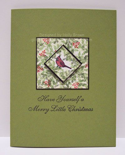 A card by hbrown using Rubber Stamp Tapestry's Cardinal Resting in Holly Peg Stamp Set (SLE18007).