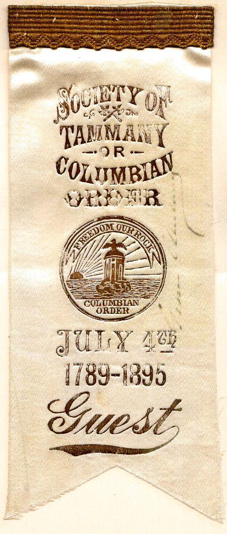 GROVER CLEVELAND - Tammany Hall Ribbon Signed