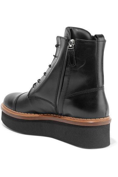Tod's - Flatform Lace-up Leather Ankle Boots - Black