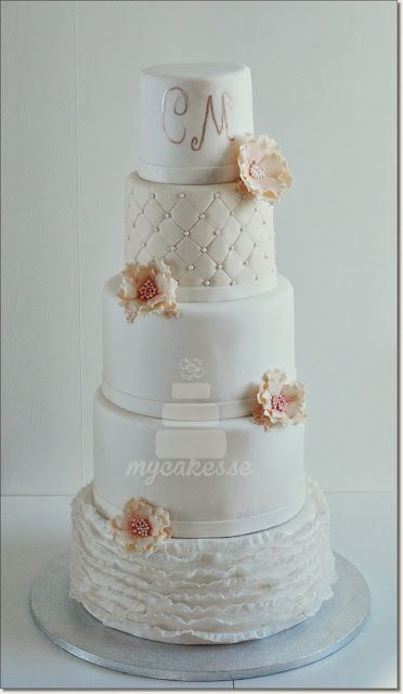 Mycakes 4 tier wedding cake shabby chic vintage