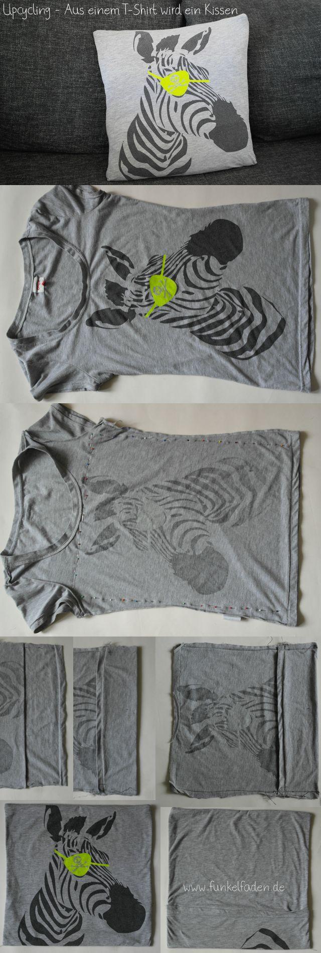 Upcycling – Ein Lieblingsshirt wird zum Sofakissen › Anleitungen, Do it yourself › DIY, Kissen aus T-Shirt nähen, kostenlose Nähanleitung, Nähanleitung Kissen, Recycling, upcycling