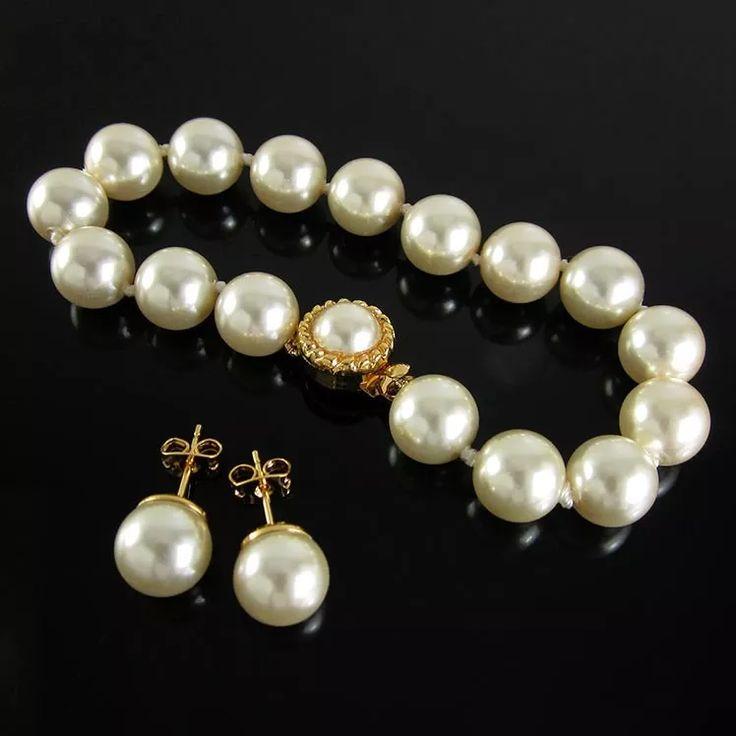 Aretesy  pulsera mujer perlas  chapa de oro lintas joyas
