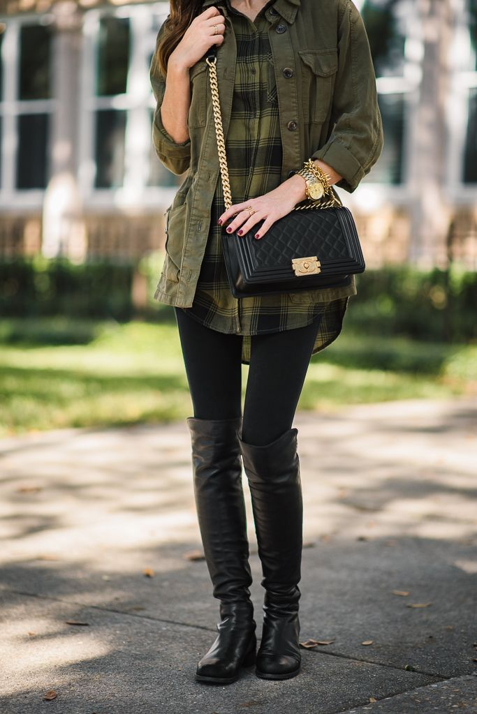 PLAID TUNIC + OVER THE KNEE BOOTS | Sequins and Things | Bloglovin'