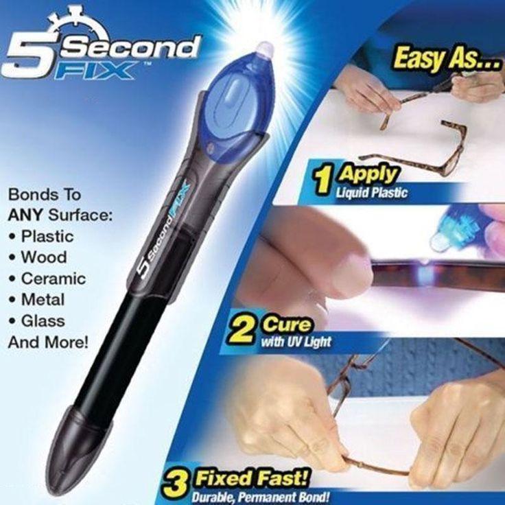 5 Second Fix UV Light Repair Tool With Glue Super Powered Liquid Plastic Welding (Refill or UV Light) Wholesale Retail