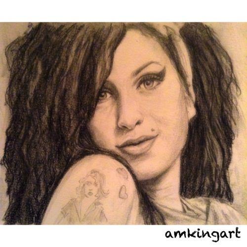 Amy Winehouse in graphite pencils