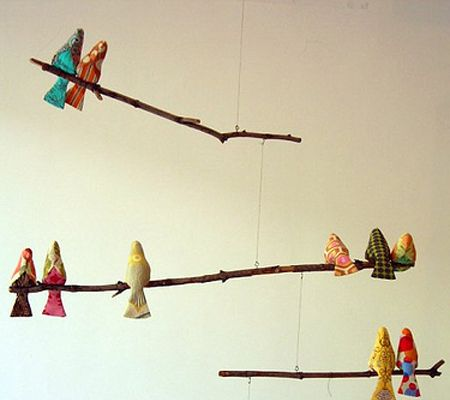 DIY bird and branch mobile for nursery