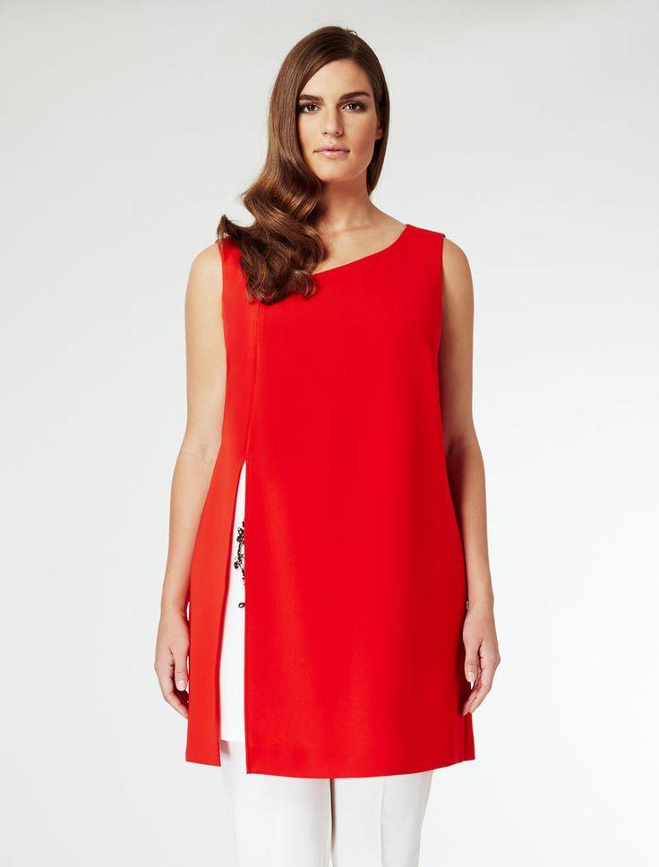 Marina Rinaldi FARNIA red: Asymmetric jewelled tunic.