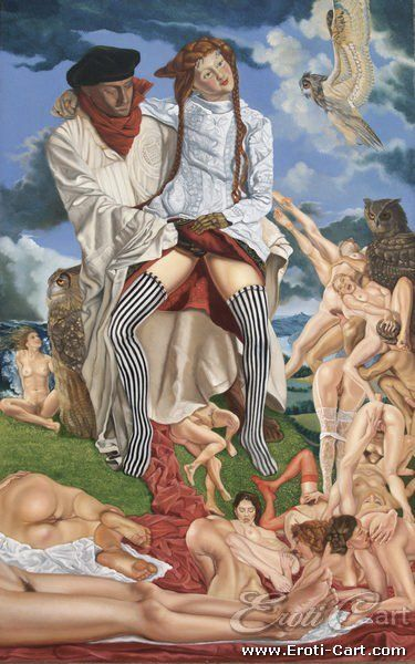 A Leggery with Mannequins : Erotic Painting by Anthony Christian.  1945 - present