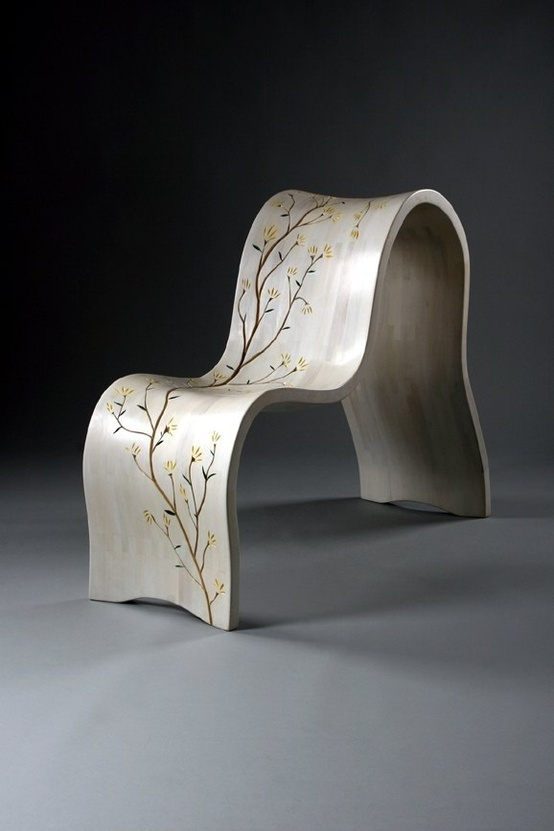 'Forsythia Chair' :: Shawn Turley.  Carved blossoms and branches reveal the natural mahogany color through a bleached and pickled varnish finish.