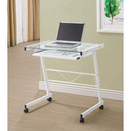 Coaster White Mobile Computer Desk with Tempered Glass