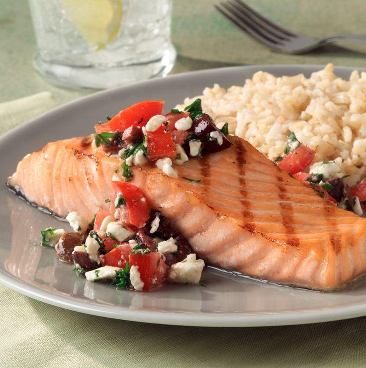 Grilled Salmon with Mediterranean Salsa by ATHENOS #feta #tomatoes #olives #lemon