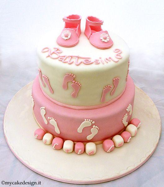 Torta Battesimo: Scarpine con laccetto da bimba | My Cake Design