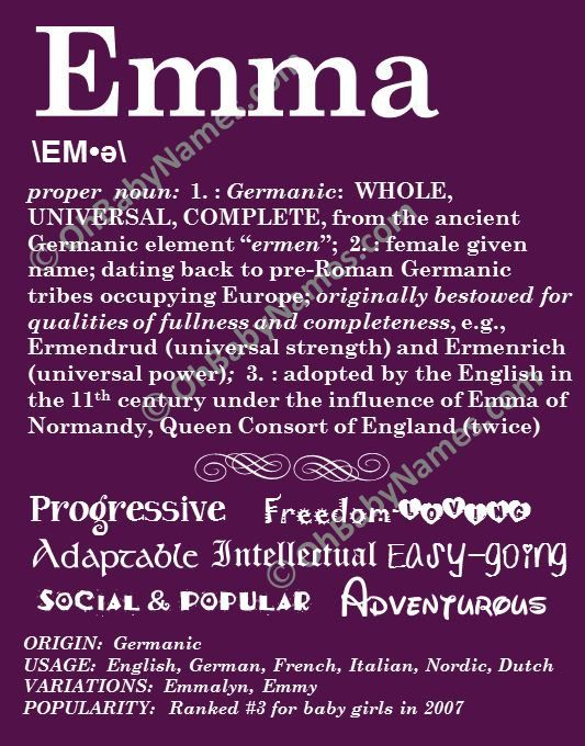 21 best baby gift ideas images on pinterest baby names names emma personalized name print typography print detailed name definitions numerology calculated destiny negle