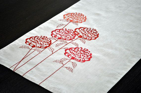 embroidered table runner $30