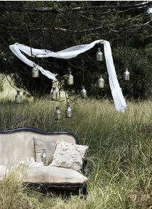outdoor 'lounge' idea for event. Exterior homewares and furniture, styled by Lara Hutton, photographed by Sam McAdam
