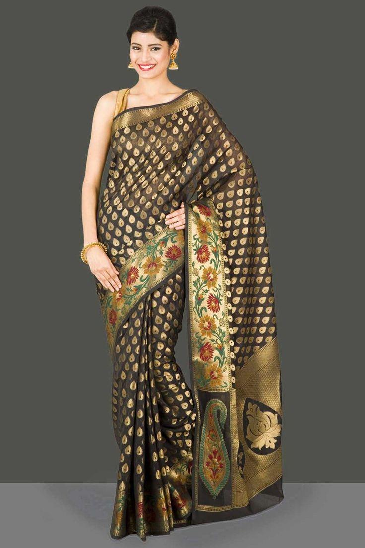 Timeless Black Kora Silk Saree With Gold Zari Teardrop Motifs And Multicoloured Floral Vine Pattern
