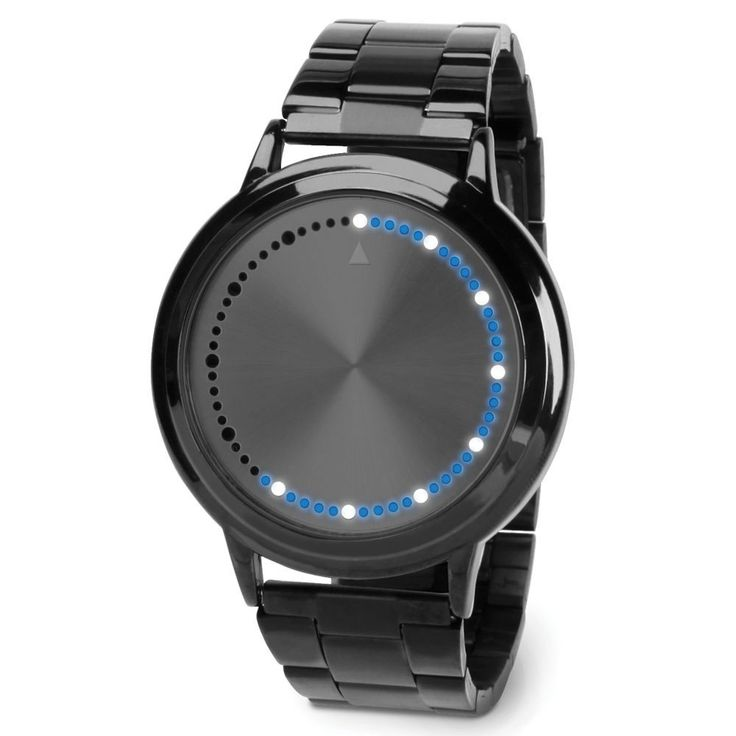 In place of the hands on a 12-hour analog watch, white LEDs mark the passage of each hour and the 12 five-minute increments in each hour. The smaller blue LEDs indicate the minutes in between each five-minute span of time. The band is stainless steel.