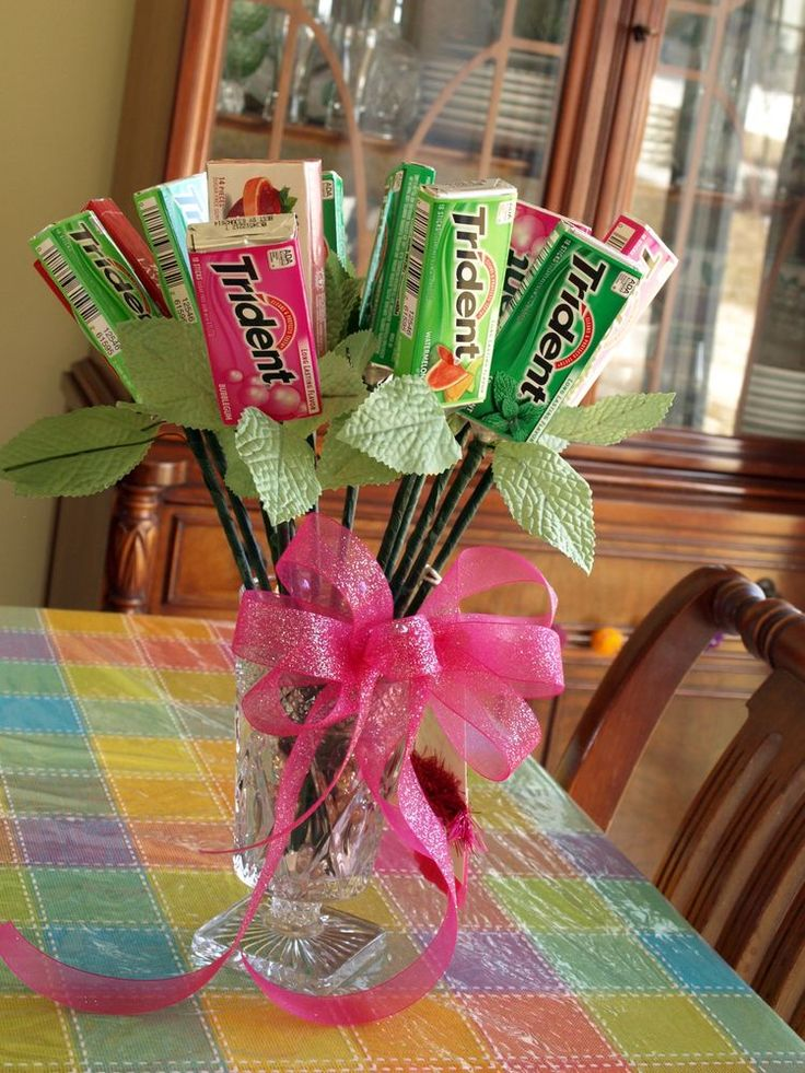 bouquet of one dozen packs of gum that I made for my daughter when she got her braces off - which happened to be on Valentine's Day!