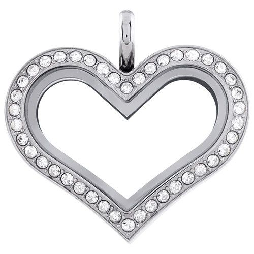 Medium czech crystal heart locket made with by THECHARMEDCOMPANY