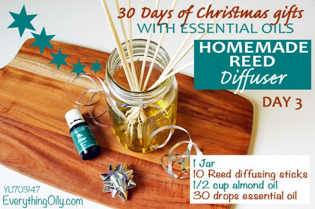 DAY 3: 30 DAYS OF CHRISTMAS GIFTS WITH ESSENTIAL OILS: Homemade Reed Diffuser.  Making a reed diffuser couldn't be easier! Just insert your sticks into a jar with some oil and Young Living therapeutic essential oil. That's it! It also makes the perfect gift this Christmas.
