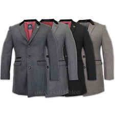 Mens Coat Long Blazer Marc Darcy Jacket Slim Fit Suede Collar Lined Formal Suit