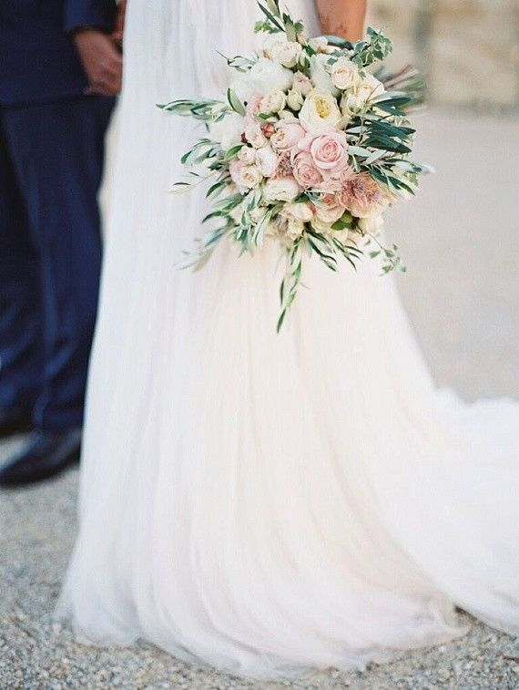 Gorgeous Bridal bouquet, using olive greenery and garden roses