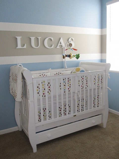 Instead do gray walls, with blue stripe above Keagan's crib and pink stripe above Jenna's crib with their names!