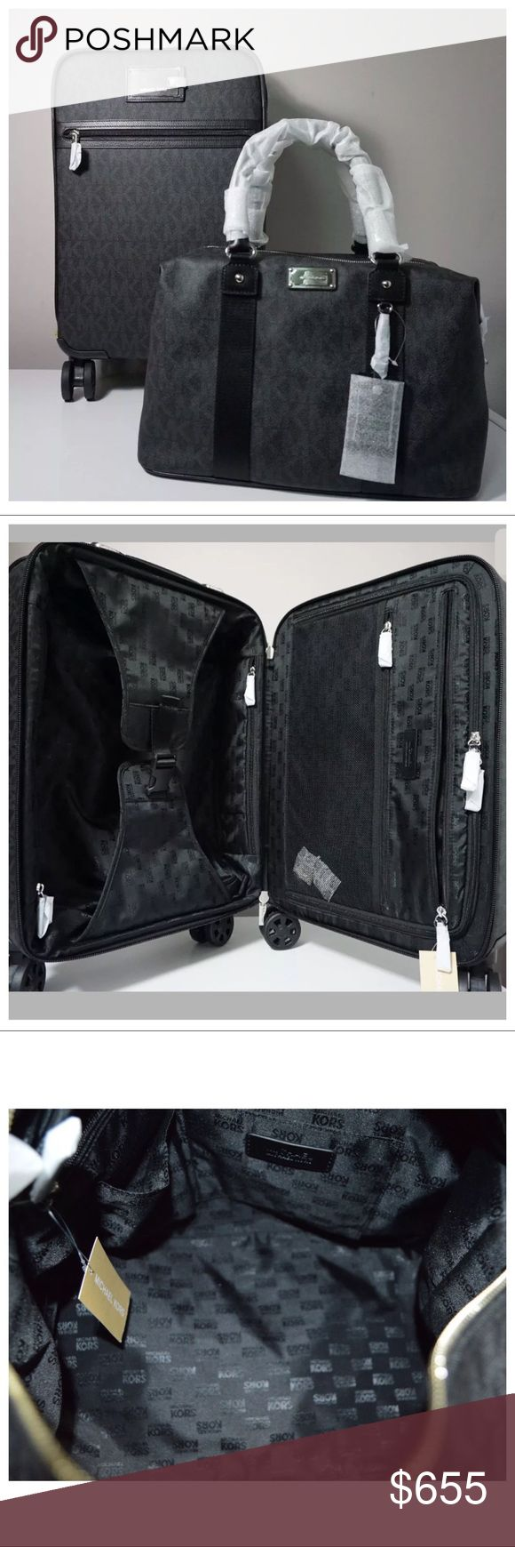 """NWT MK Travel Trolley Luggage & Large Weekender Brand new 100% Authentic  Travel Black Trolley Bag Luggage & Large Weekender Set Michael Kors MK Style No. 35T6GTFN4B ✨Retail price: $688 ✨Color: Black ✨PVC with leather trim ✨Handles at top and side ✨A telescope bar with push button backup ✨ID tag hangs from top ✨Front outside pocket ✨Inside, lined with three zip compartments; belted panels ✨keep items in place ✨Swivel wheels  ✨Telescope measurement height: 21"""" ✨Measurements: 13'' (L) x 19''…"""