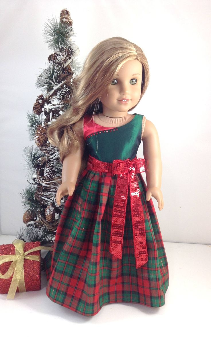 "18T Holiday Wear - Christmas Dress and Shoes for 18"" dolls like American Girl (R) Lea, Tenney, Grace, Gabriela, McKenna, Rebecca and Kit by MjsDollBoutique18T on Etsy"