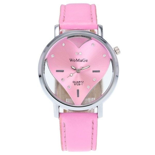 Rhinestone Heart Adorn Quartz Watch - PINK