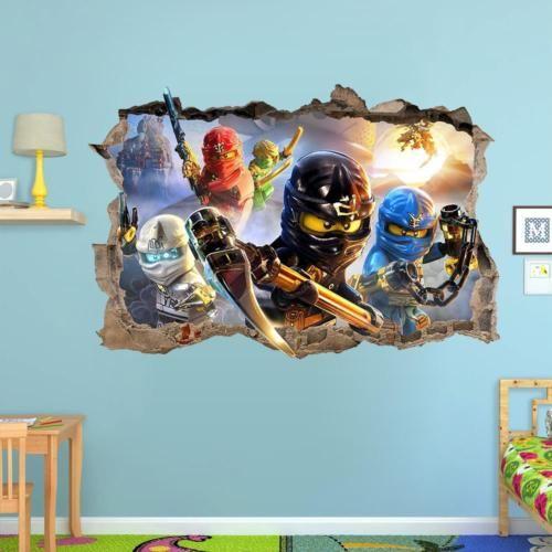 lego ninjago smashed wall sticker 3d bedroom removable