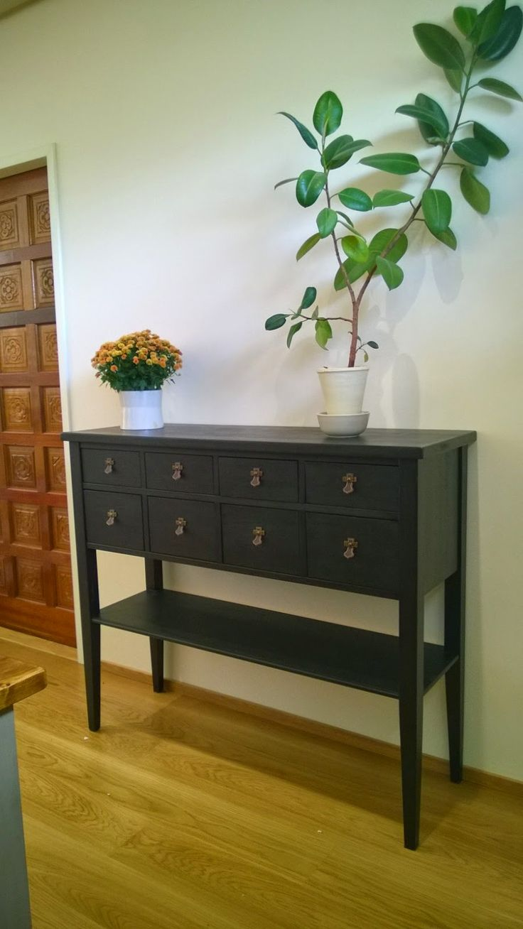 Laivasto-sivupöytä, Side board painted black #solidwood #JUVI