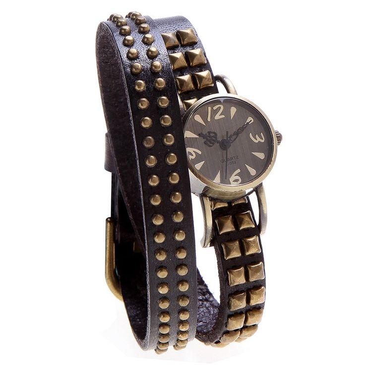 Cheap Women Lady Quartz Wrist Watch Vintage Rivet Round Wrap Strap Online coffee   Tomtop