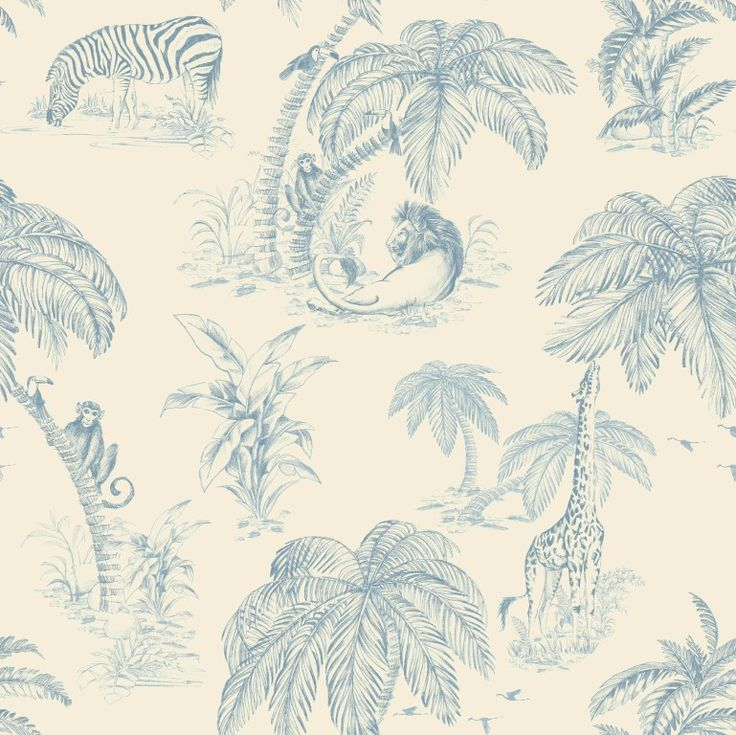 At a glance this looks like a classic toile wallpaper pattern but on closer inspection you will see a range of gorgeous jungle animals hidden amongst graceful palm trees. From the Paradise collection, Palma Sola 98372 by Holden. Available in NZ through Guthrie Bowron stores.