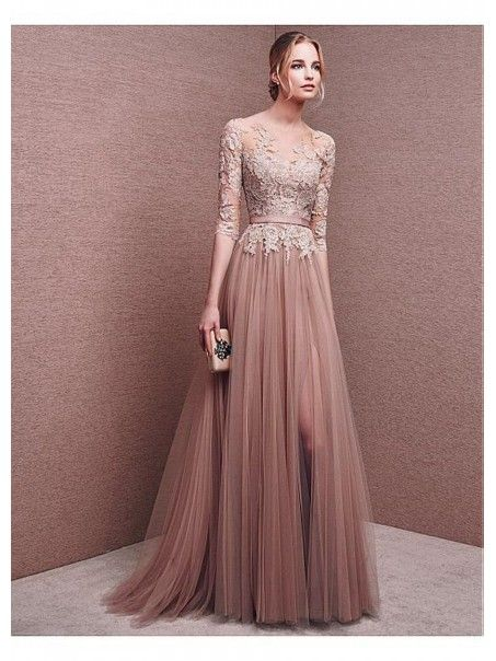b6d718399d4 A-Line 3 4 Length Sleeves Lace Tulle Long Prom Formal Evening Dresses  99501008
