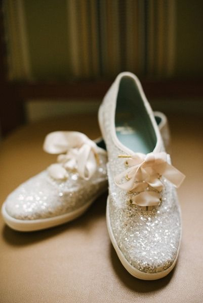 Wedding shoes for bride - sparkly Kate Spade sneakers {Walking Eagle Photography}