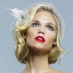 birdcage veil with short hair (1)