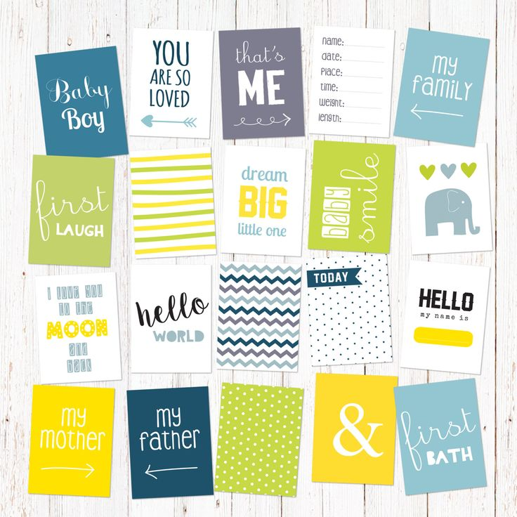 """Scrapbook and journal cards for newborn baby boys. 20 cute cards for instant download. Size 3x4"""". Vol 1. by GraphicCorner on Etsy"""