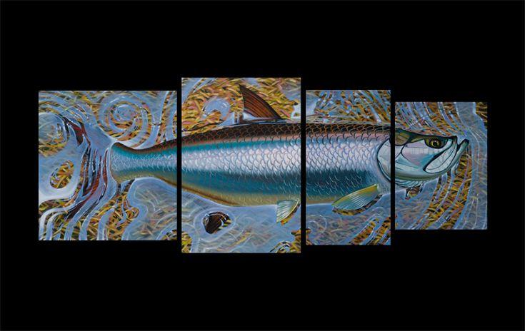 4 panel Tarpon Fish Print fisherman gift option
