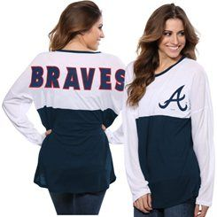 Atlanta Braves Concept Sports Women's Comeback Long Sleeve T-Shirt - White/Navy