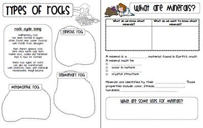 A-10 (also D-8) Rocks, Minerals, Fossils free printables.