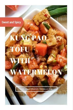 Kung pao tofu with watermelon sounds strange but it's the perfect combination of sweet, spicy, savory and sour. Best of all it can be ready in less than 30 minutes!