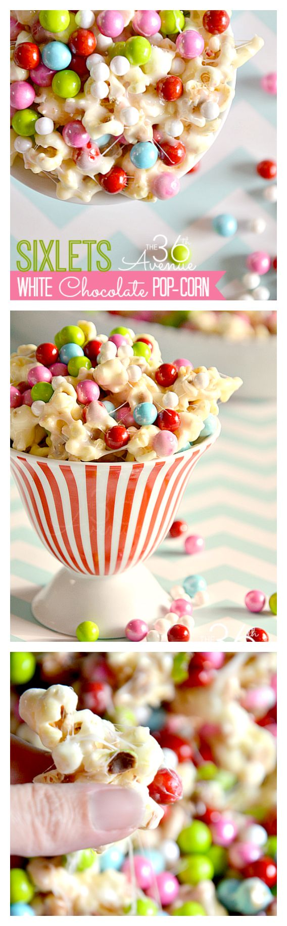 Delicious White Chocolate Popcorn Recipe.  Almost too cute to eat… almost! { the36thavenue.com }