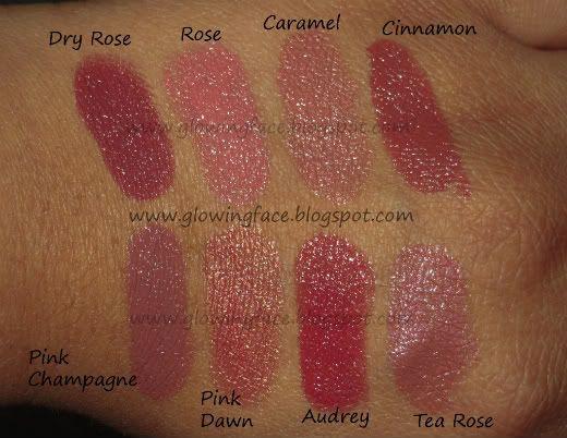 Lipstick Laura Mercier Pink Label   Laura Mercier Lipstick Swatches in Dry Rose, Rose, Caramel, Cinnnamon