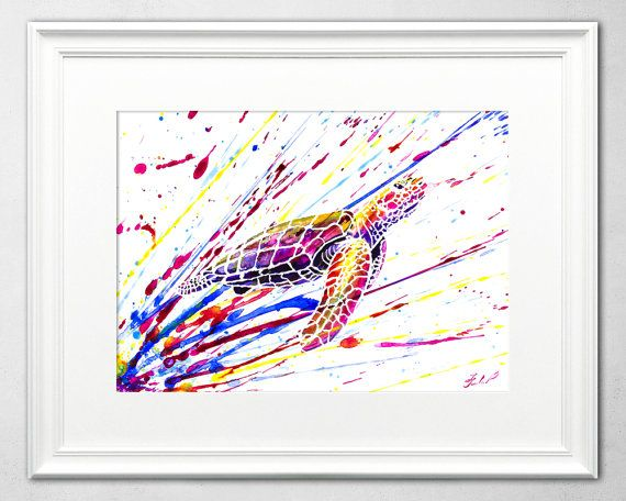 Sea Turtle Watercolor Painting by Ivars Selickis #watercolor #seaturtle #sealife #watercolorpainting #wildlife #animalpainting