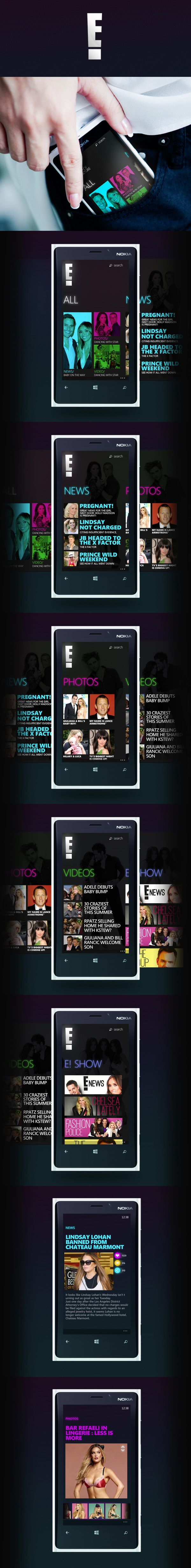 E! Entertainment  - Windows Phone Concept App by Robson Pereira, via Behance
