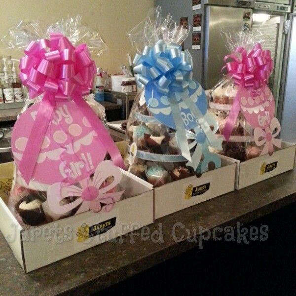 cupcake gift baskets for 3 different baby showers great as a centerpiece