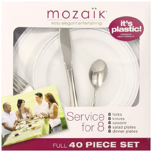 Mozaik Service for 8 Plastic Plate and Cutlery Set 40pc