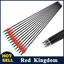 12pcs New Spine 500 Carbon Arrow With Replaceable Arrowhead 30' Length Archery for Compound/Recurve Bow Hunting